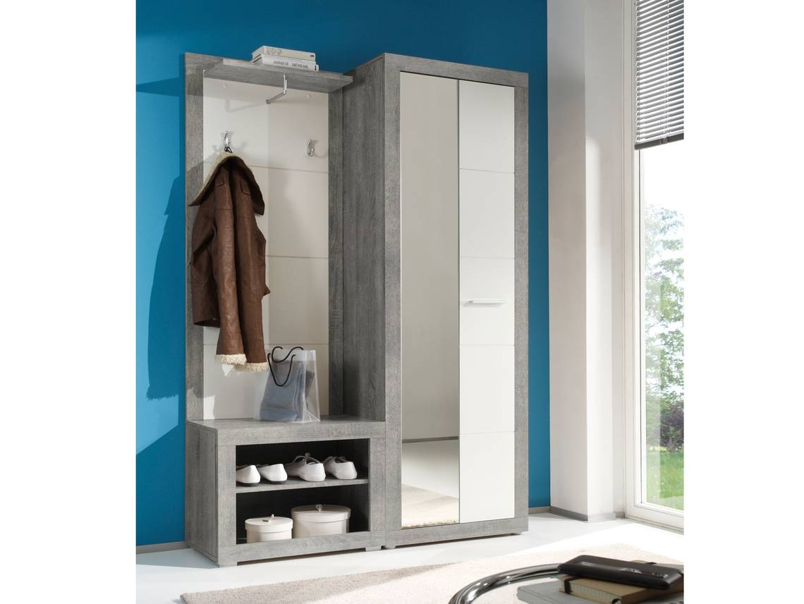 Stan garderobe beton wei for Garderobe komplett programme