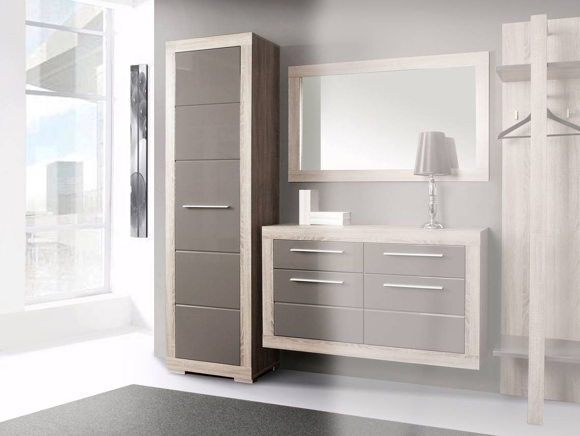 amberg dielenschrank sonoma eiche grau grau hochglanz. Black Bedroom Furniture Sets. Home Design Ideas