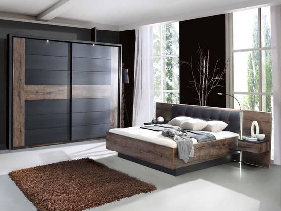 ERLIN Schlafzimmer Schwarzeiche/Schlammeiche 160 x 200 cm   Schwebetürenschrank DETAIL_IMAGE