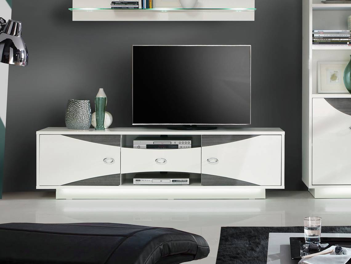 wanda tv unterteil wei eiche grau. Black Bedroom Furniture Sets. Home Design Ideas