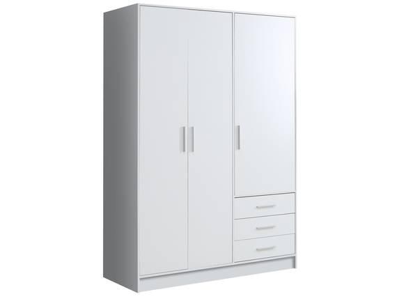 JAMI Kleiderschrank 3-trg mit 3 Schubkästen, Material Dekorspanplatte weiss DETAIL_IMAGE