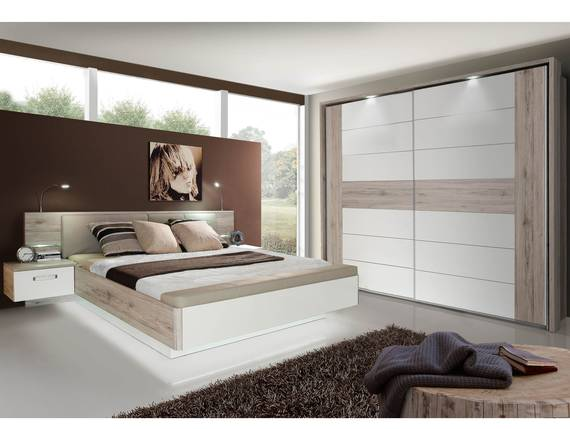 romana schlafzimmer sandeiche weiss hochglanz. Black Bedroom Furniture Sets. Home Design Ideas