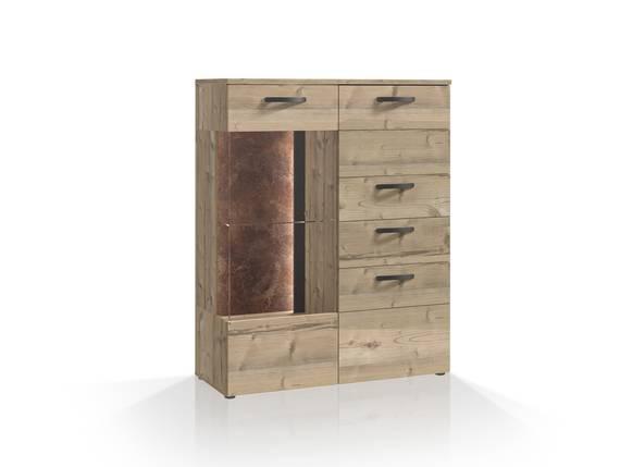 KALIMA Highboardvitrine klein, Material Dekorspanplatte, fichtefarbig/betonfarbig  DETAIL_IMAGE