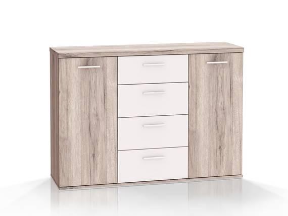 WALDY Kommode mit 2 Türen und 4 Schubkästen, Material Dekorspanplatte, sandeichefarbig/weiss  DETAIL_IMAGE