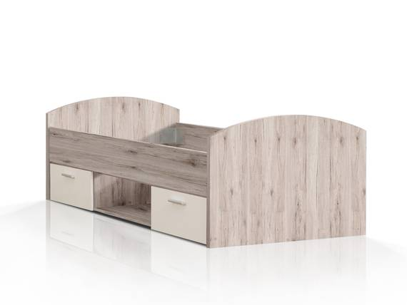 WALDY Jugendbett, Material Dekorspanplatte, sandeichefarbig/weiss  DETAIL_IMAGE