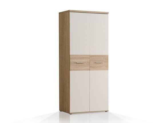 WALDY Kleiderschrank mit 2 Türen, Material Dekorspanplatte, Eiche sonomafarbig/weiss  DETAIL_IMAGE
