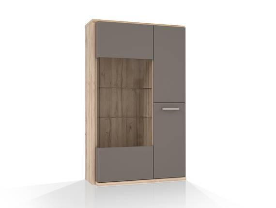 ADANA Vitrine R, Material Dekorspanplatte,  Eiche biancofarbig/basaltfarbig  DETAIL_IMAGE