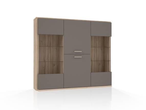ADANA Highboardvitrine, Material Dekorspanplatte, Eiche biancofarbig/basaltfarbig  DETAIL_IMAGE