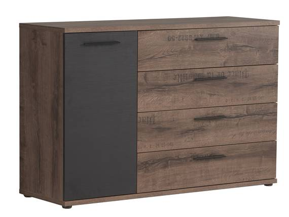 JESOLO Kommode, 1 Tür + 4 Schubkästen, Material Dekorspanplatte, schlammeichefarbig  DETAIL_IMAGE