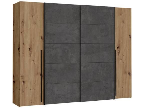 NEILA Drehtürenschrank / Schiebetürenschrank, Material Dekorspanplatte eichefarbig/betonfarbig DETAIL_IMAGE