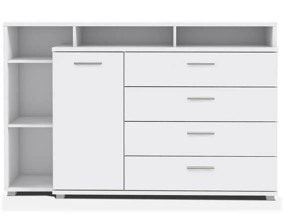 MAYLO Sideboard / Kommode mit 1 Tür und 4 Schubkästen, Material Dekorspanplatte, weiss  DETAIL_IMAGE