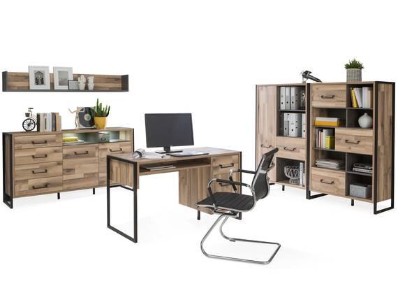 HANIKA Komplett Büro II, Material Dekorspanplatte, eichefarbig/betonfarbig  DETAIL_IMAGE