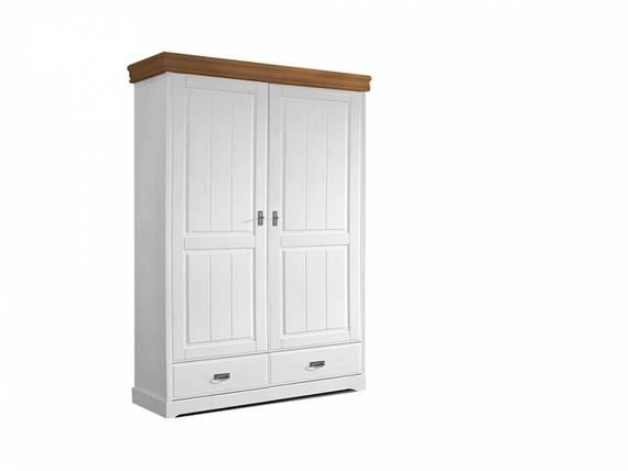 ROMAN Kleiderschrank / Drehtürenschrank teilmontiert, Material Massivholz, Kiefer 2-türig | weiss/honig DETAIL_IMAGE