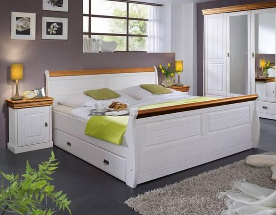 ROMAN Massivholzbett Kiefer weiss 140 x 200 | weiss/honig | mit Bettkasten DETAIL_IMAGE