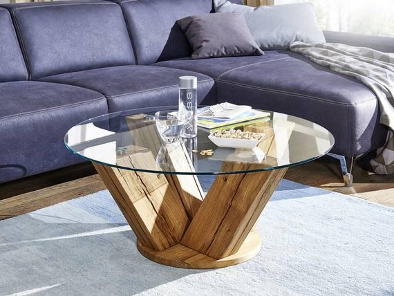 boston couchtisch mit sicherheitsglasplatte wildeiche lackiert. Black Bedroom Furniture Sets. Home Design Ideas