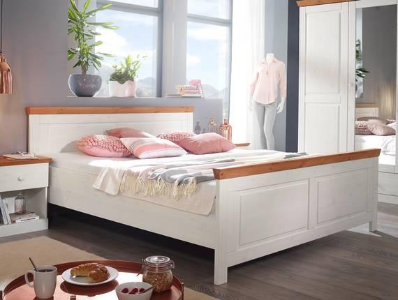 DOVER Doppelbett 180x200 cm, Material Massivholz, Kiefer weiss/honig  DETAIL_IMAGE