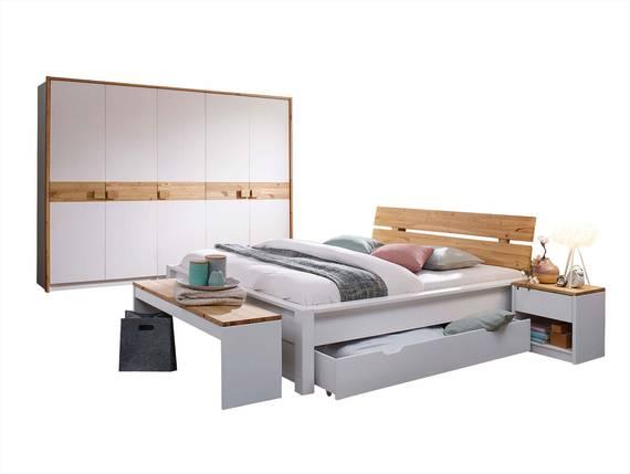 TARINA Komplett Schlafzimmer, Material Massivholz, weiss lackiert/laugenfarbig geölt  DETAIL_IMAGE