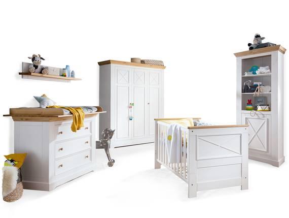 CARLY Komplett-Babyzimmer, Material Massivholz, Kiefer weiss/eichefarbig  DETAIL_IMAGE