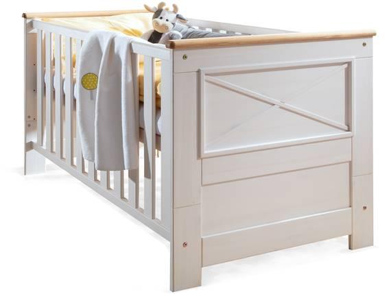 CARLY Babybett, Material Massivholz, Kiefer weiss/eichefarbig  DETAIL_IMAGE