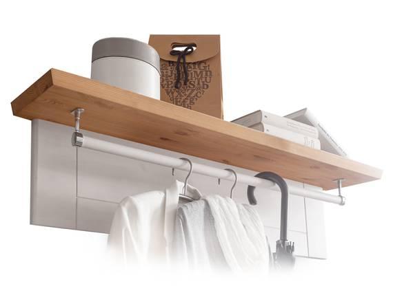 BORNHOLM Garderobenpaneel II, Material Massivholz, Kiefer weiss/eichefarbig  DETAIL_IMAGE