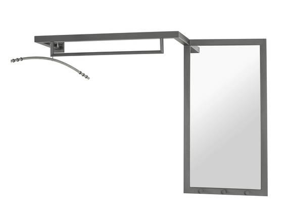 WELDO Wandgarderobe mit Spiegel, Material Stahlrohr anthrazit  DETAIL_IMAGE