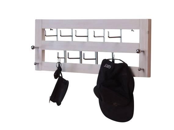 wandgarderobe used look mit 9 haken weiss. Black Bedroom Furniture Sets. Home Design Ideas