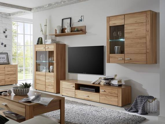 dora wohnwand kernbuche teilmassiv. Black Bedroom Furniture Sets. Home Design Ideas
