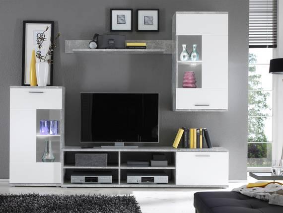 FADIA Wohnwand, Material Dekorspanplatte, betonfarbig/weiss  DETAIL_IMAGE