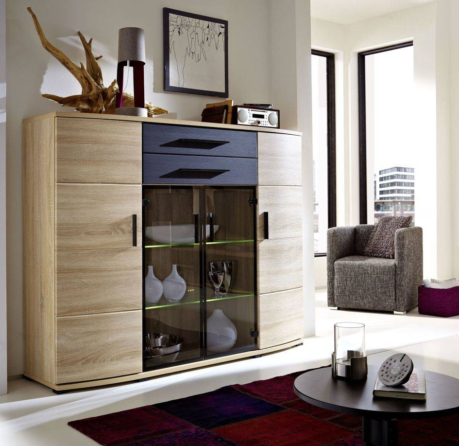 taras highboard sonoma eiche melinga black. Black Bedroom Furniture Sets. Home Design Ideas