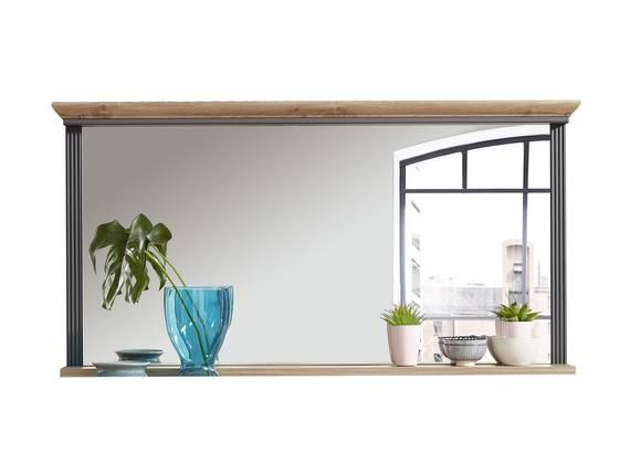JADY Spiegel breit, 142x74 cm mit Boden, Material MDF graphitfarbig/eichefarbig DETAIL_IMAGE