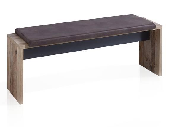 RAMINA Sitzbank mit Klemmkissen, 130x40 cm, Material Dekorspanplatte, Used Style braun  DETAIL_IMAGE