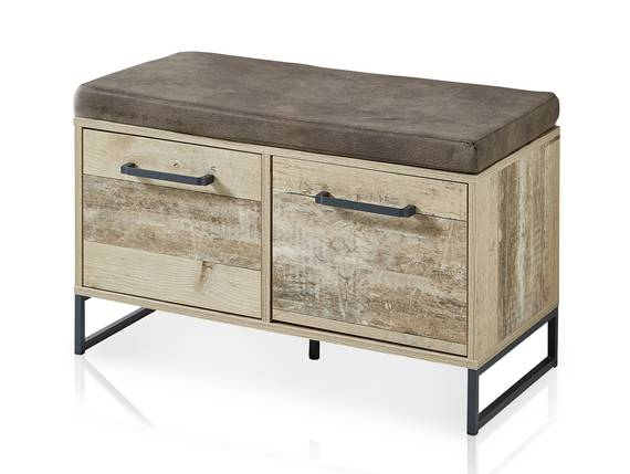 RAMINA Garderobenbank mit Sitzpolster,  Material Dekorspanplatte, Used Style braun/anthrazit  DETAIL_IMAGE