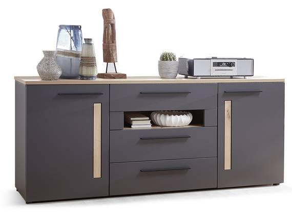 LAMBADA Sideboard, Material MDF, graphitfarbig/eichefarbig  DETAIL_IMAGE