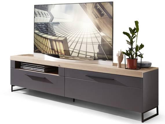 LAMBADA TV-Unterteil, Material MDF, graphitfarbig/eichefarbig  DETAIL_IMAGE