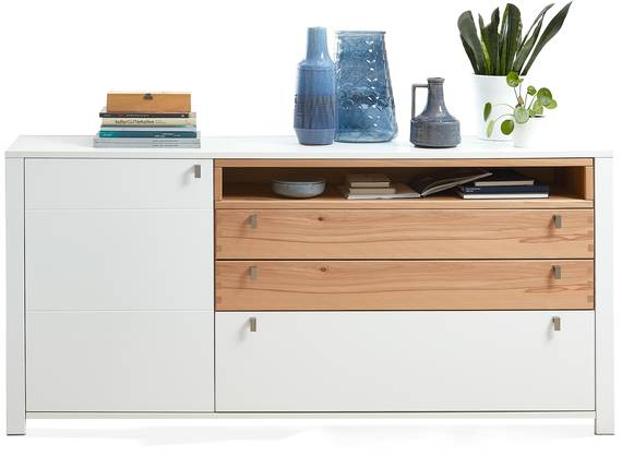 SEVINO Sideboard, Material MDF, weiss/Wildbuche massiv  DETAIL_IMAGE