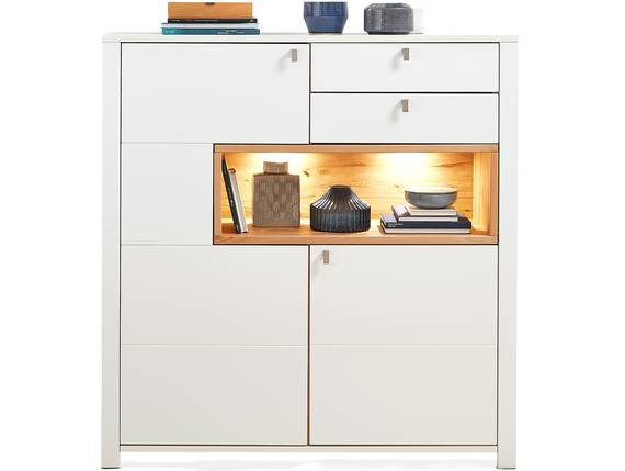 SEVINO Highboard, Material MDF, weiss/wildbuchefarbig  DETAIL_IMAGE