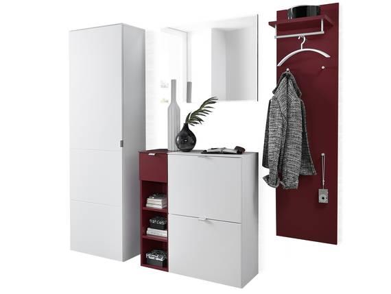 TEMIDO Garderobenset II, Material MDF, weiss/rot ohne Fußsets DETAIL_IMAGE
