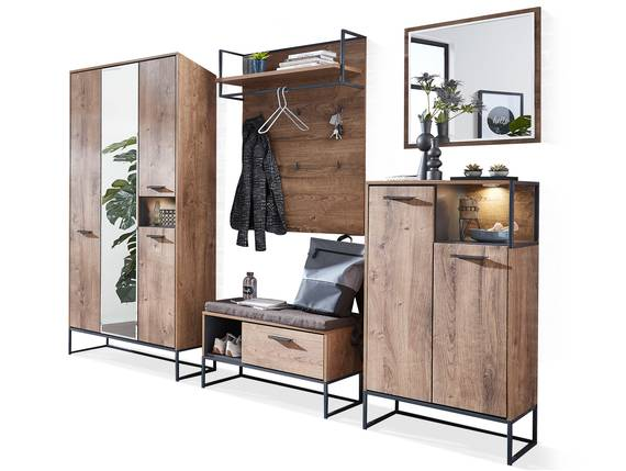 MILTON Komplett-Garderobe II, Material MDF, eichefarbig  DETAIL_IMAGE