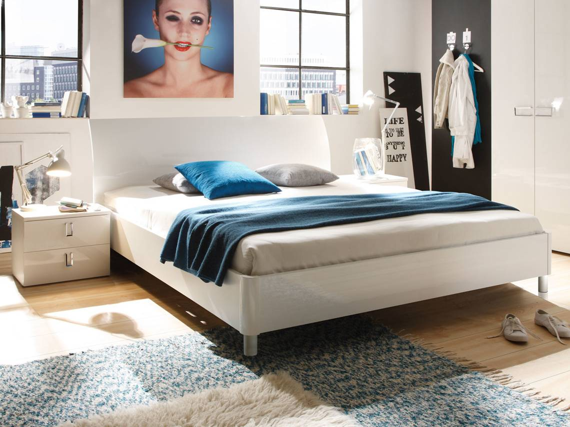 lydia doppelbett weiss hochglanz lackiert 160 x 200 cm. Black Bedroom Furniture Sets. Home Design Ideas