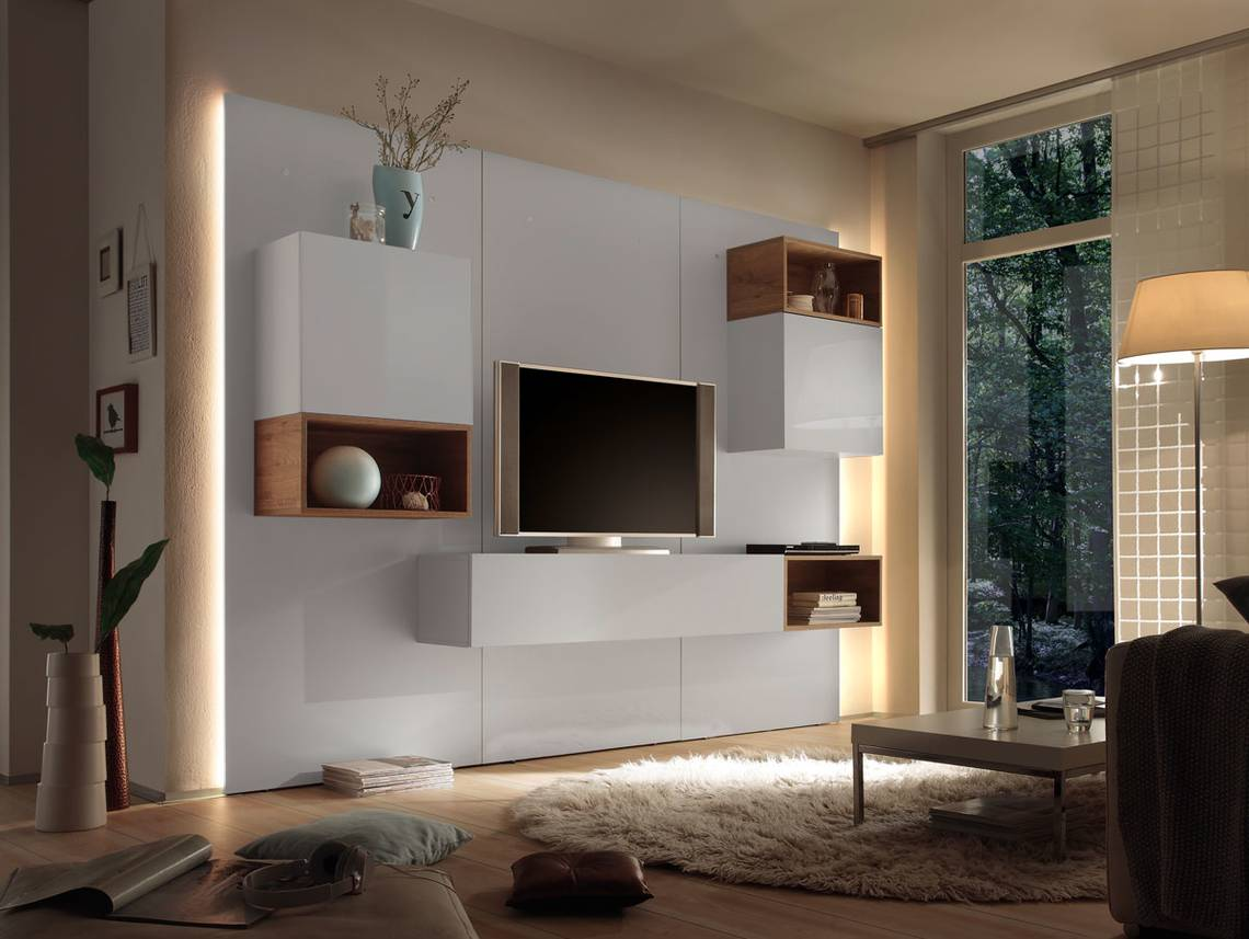 casino iii wohnwand weiss eiche natur. Black Bedroom Furniture Sets. Home Design Ideas