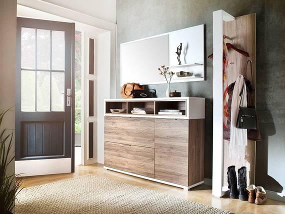 canu ii komplett garderobe eiche rustika weiss. Black Bedroom Furniture Sets. Home Design Ideas