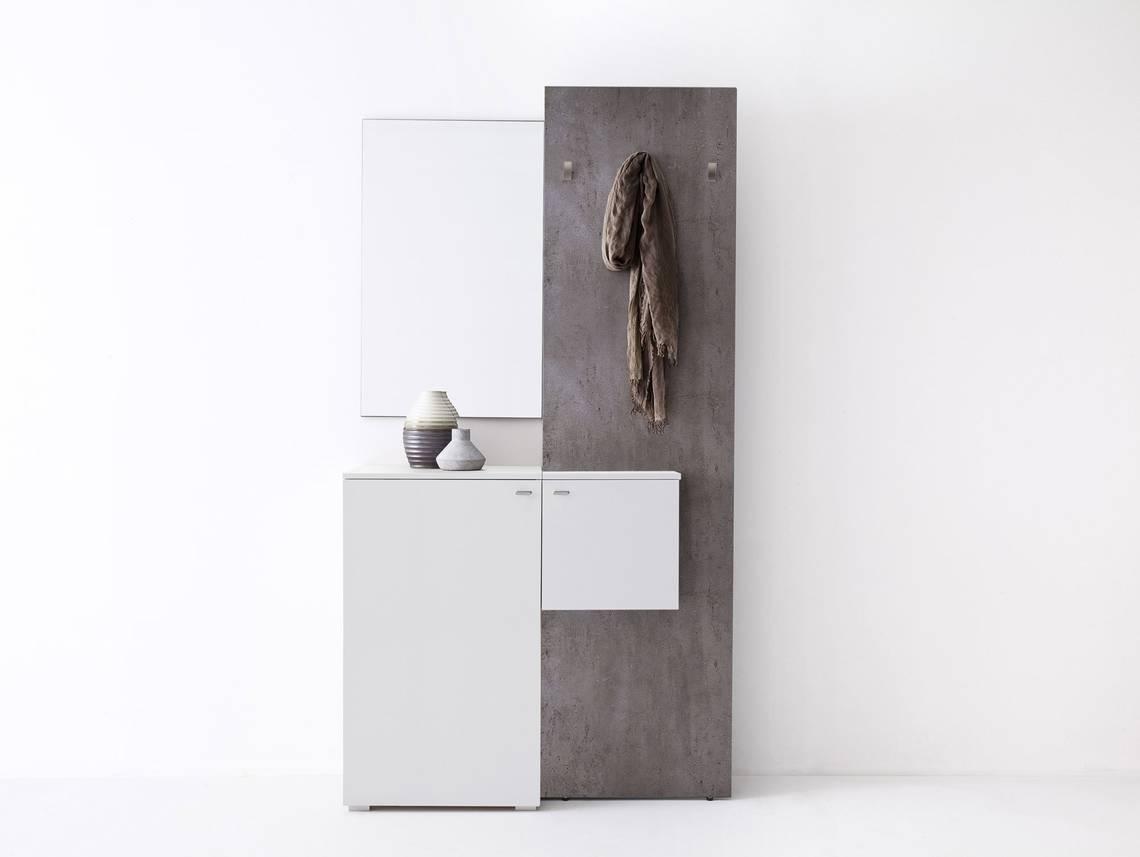 Zarah komplett garderobe weiss beton for Garderobe romina