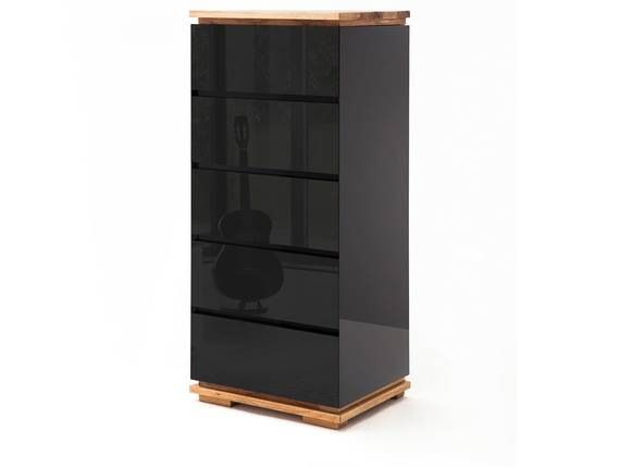 CITTO Hochkommode, Material Massivholz, Asteiche geölt schwarz/Asteiche DETAIL_IMAGE