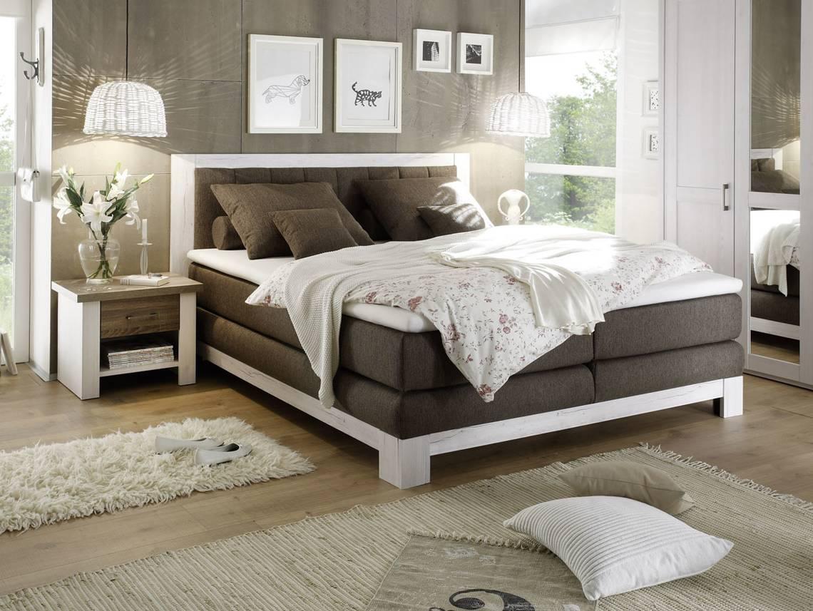 noah i boxspringbett 180x200 cm pinie weiss nachbildung mdf braun. Black Bedroom Furniture Sets. Home Design Ideas