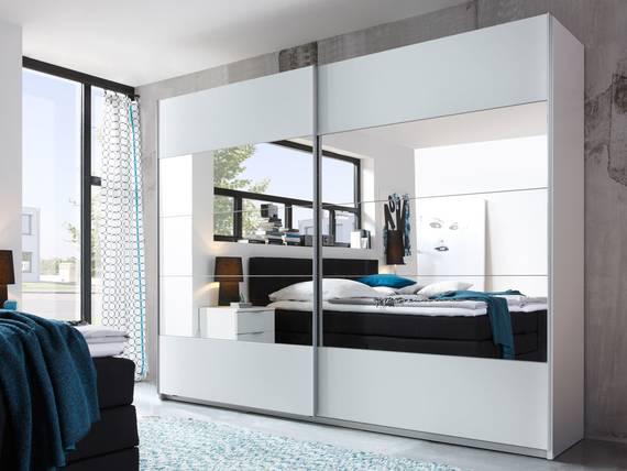 PARIS Schiebetürenschrank mit Spiegel, Material Dekorspanplatte, weiss  DETAIL_IMAGE