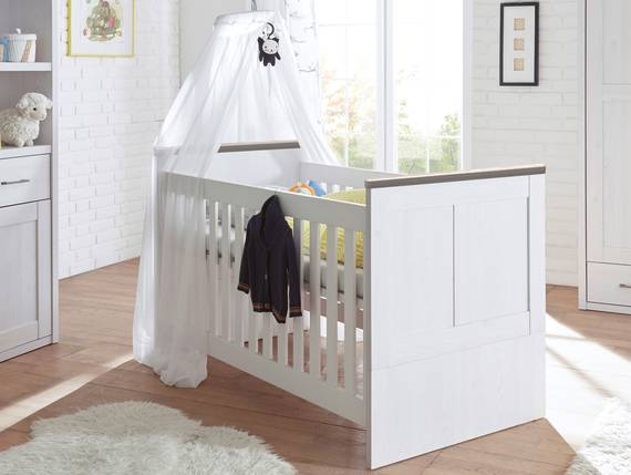 babybett lucy 70x140 cm pinie wei tr ffel. Black Bedroom Furniture Sets. Home Design Ideas