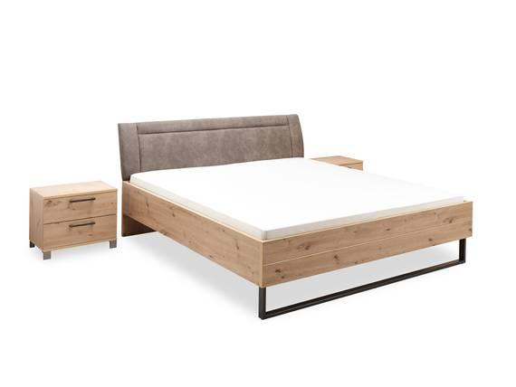 ONELLA Doppelbett 180x200 cm, Material Dekorspanplatte, eichefarbig  DETAIL_IMAGE