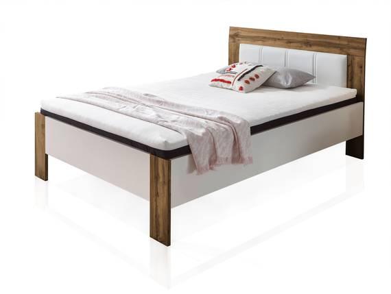 SERRY Bett / Jugendbett komplett mit Matratze und Rost, 140x200 cm, Material Dekorspanplatte eichefarbig/weiss DETAIL_IMAGE