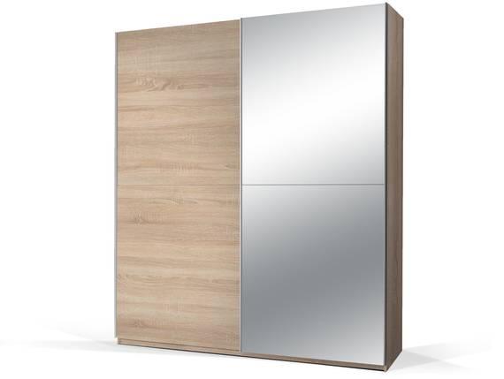 PION Schwebetürenschrank mit Spiegel, Material Dekorspanplatte, Eiche sonomafarbig  DETAIL_IMAGE