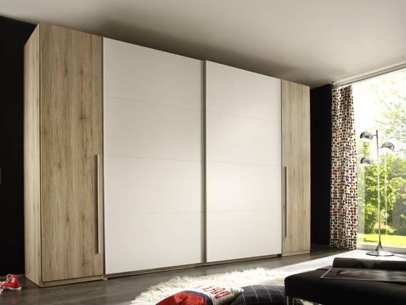 MANDY III Drehtürenschrank/Schwebetürenschrank, Material Dekorspanplatte, Eiche sanremofarbig/weiss  DETAIL_IMAGE